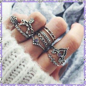 Jewelry - Set of 10 boho midi knuckle rings